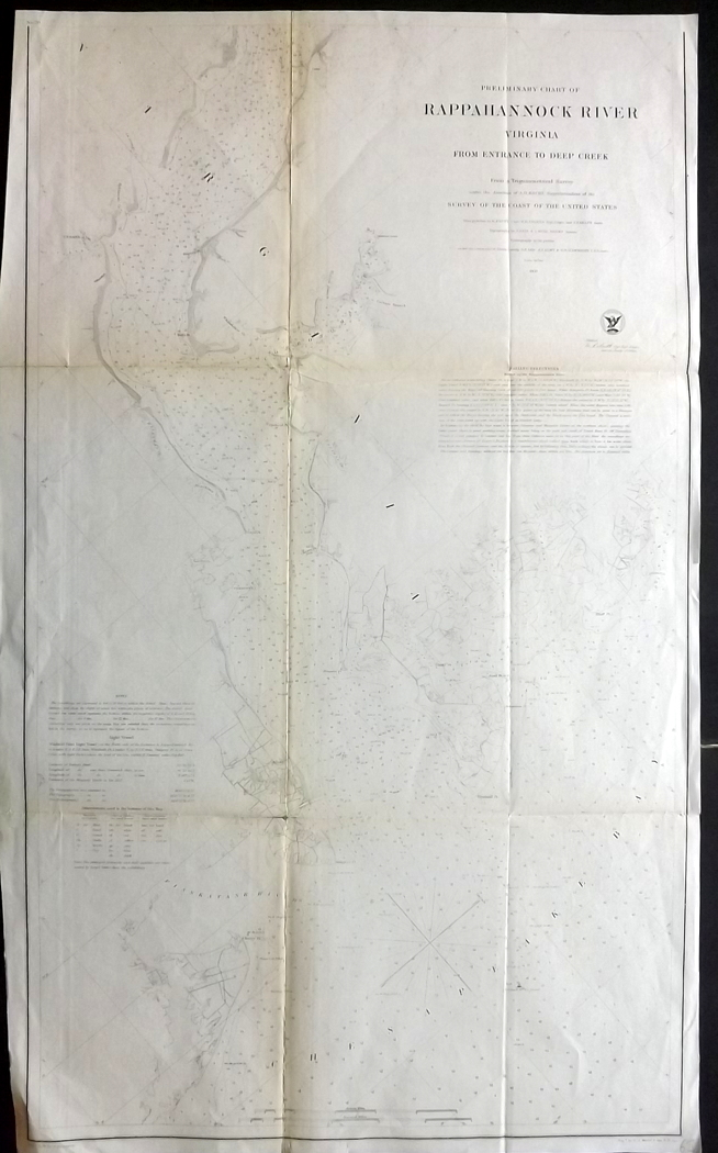 U.S. Coast Survey 1857 Map of Rappahannock River, Virginia