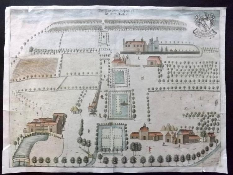 Chauncy, Henry - Hertforshire 1700 Hand Coloured Prospect of Bushey Hall