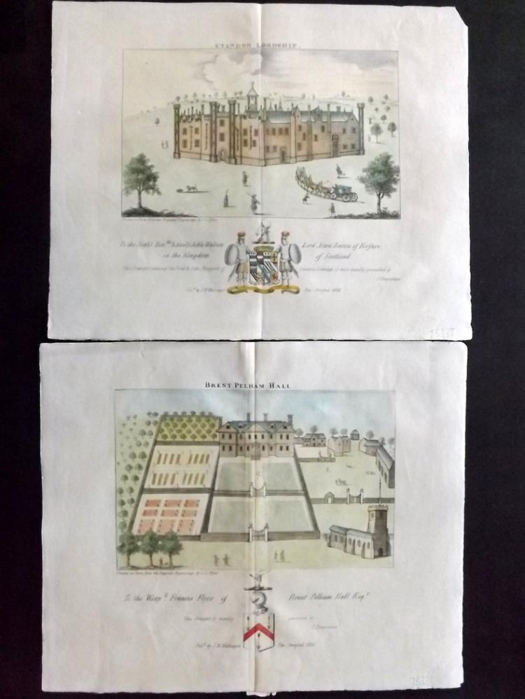 Chauncy, Henry - Hertforshire 1826 Pair of Hand Coloured Prints. Brent Pelham & Standon Lordship