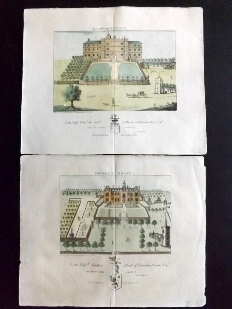 Chauncy, Henry - Hertforshire 1826 Pair of Hand Coloured Prints. Knebworth & Honsdon