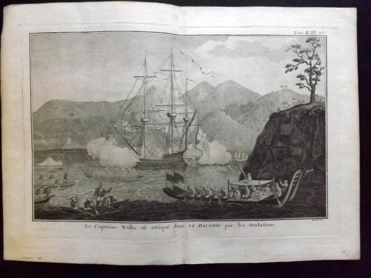 Cook's Voyages 1785 Copper Plate of Captain Wallis, HMS Dolphin Ship, Tahiti