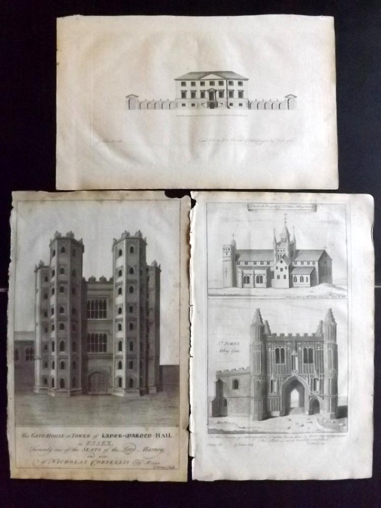 Essex 1768 Group of 3 Architectural Prints From Morant's Essex, Copped Hall etc