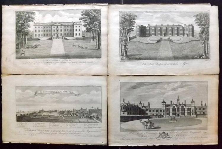 Essex 1768 Group of 4 Architectural Prints From Morant's Essex