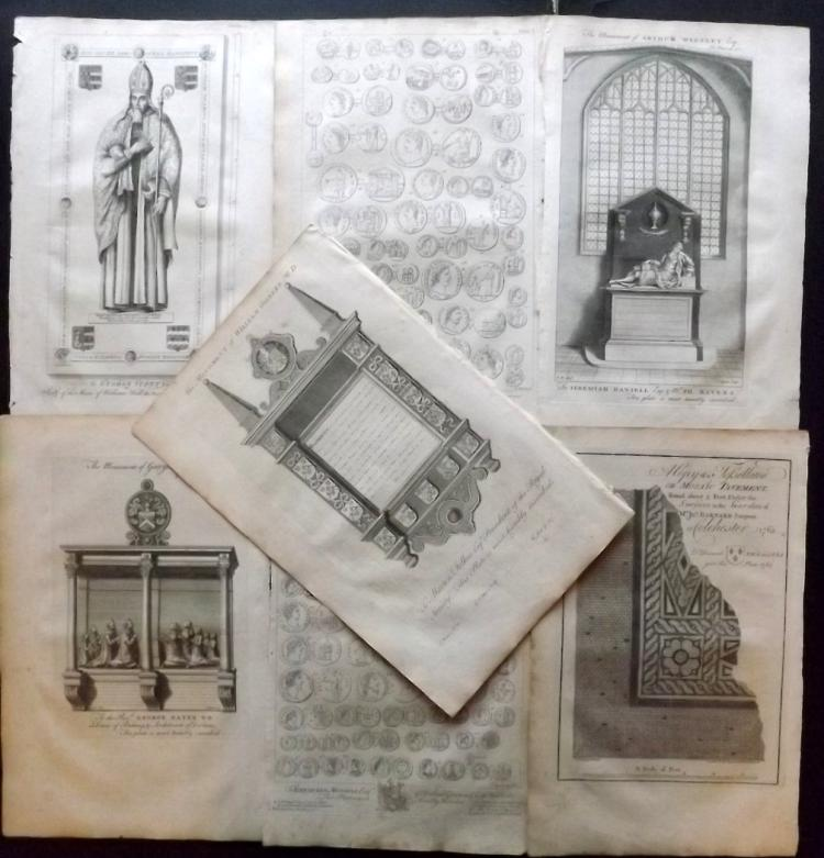 Essex 1768 Lot of 7 Architectural & Antiquities Plates From Morant's Essex