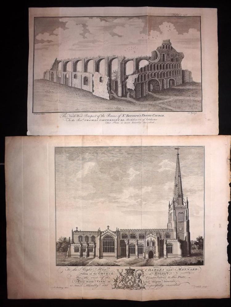Essex 1768 Pair of Architectural Prints From Morant's Essex