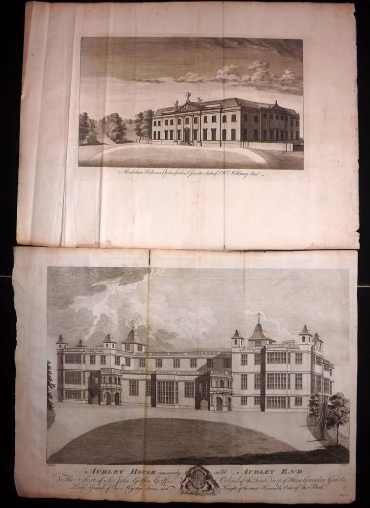 Essex 1768 Pair of Large Architectural Prints From Morant's Essex
