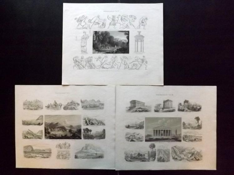 Greece 1846 Group of 3 Large Steel Engravings by Emil Wendt