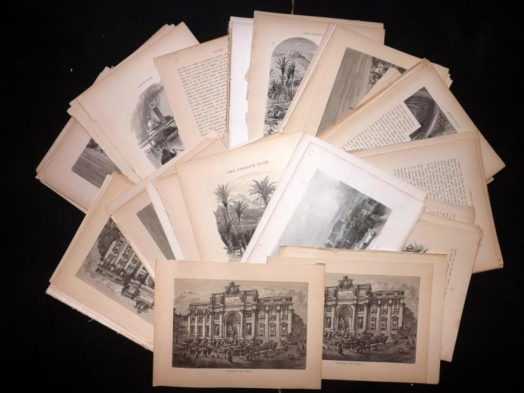 Italy C1875 Lot of 200+ Illustrated Sheets, Rome & Venice etc.