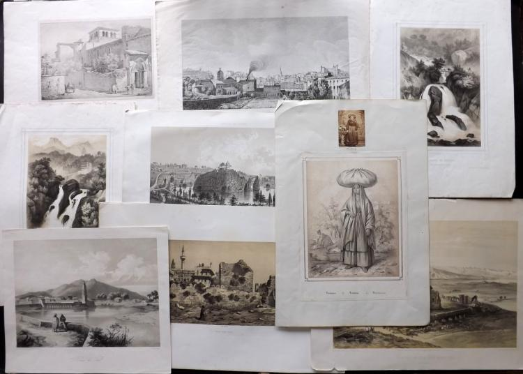 Lithographic Views C1840-60 Lot of 9 Large Prints. France, Pakistan, Holy Land, Germany