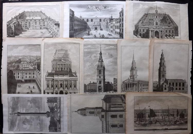 London 1720-C1756 Lot of 11 Architectural Prints by Maitland & Stow