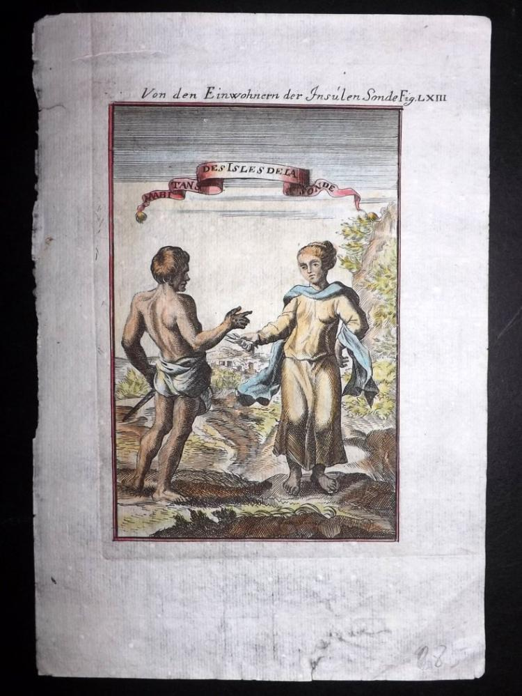 Mallet, Alain Manesson 1719 Hand Coloured Print. Sunda Costume, Indonesia