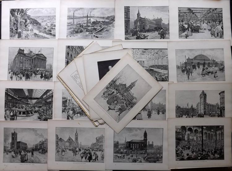 Manchester 1894 Lot of 30 Prints from Manchester Old & New
