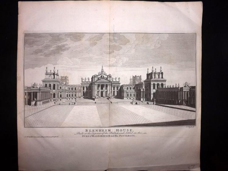 Oxford - Blenheim Palace C1745 Architectural Print from Rapin's History