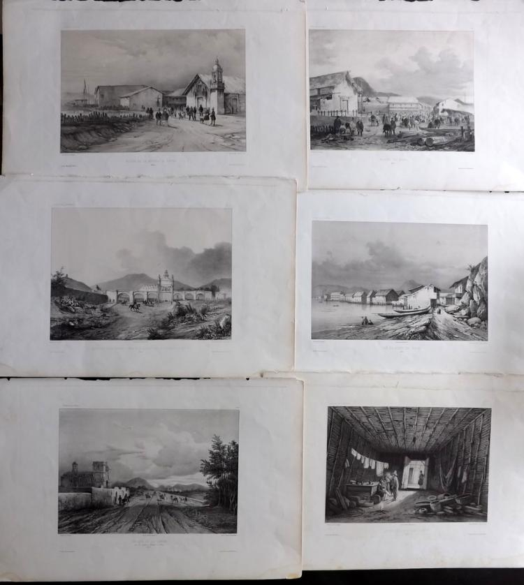 Peru - Voyage Corvette la Bonite 1840's Group of 6 Large Lithographs
