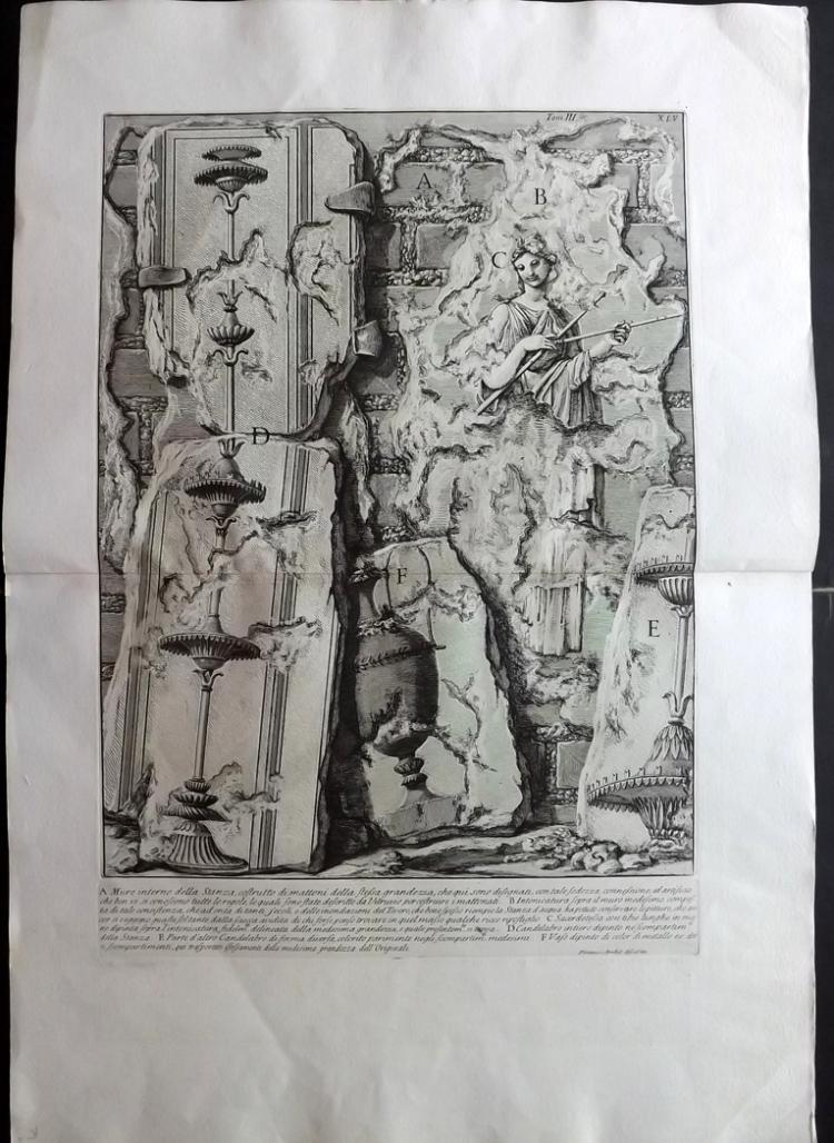 Piranesi, Giovanni Battista 1784 Architectural Print. Muro interno della Stanza 3-45 Rome