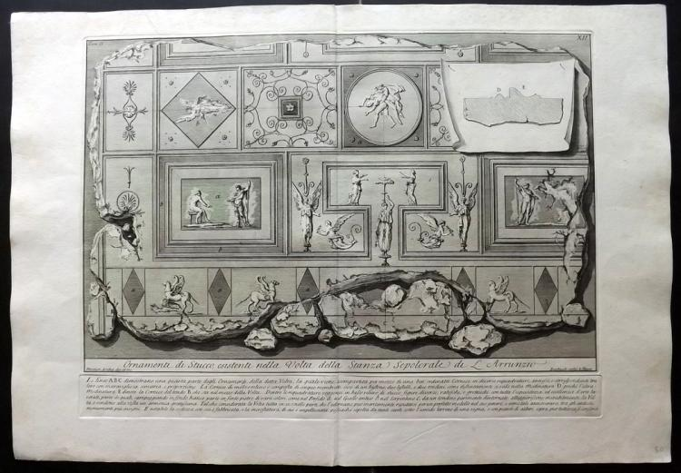 Piranesi, Giovanni Battista 1784 Architectural Print. Ornamenti di stucco 2-12 Rome