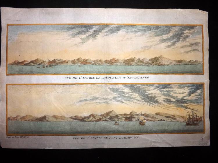 Prevost, Antoine Francois - Mexico C1760 Hand Coloured Print of Chequetan Zihuatanejo & Acapulco.