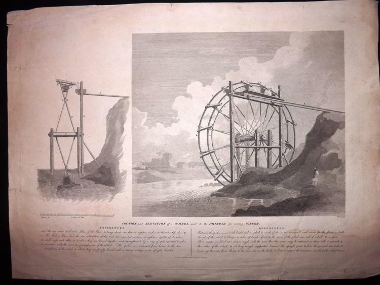 Staunton, George Leonard - China 1797 Large Print of Section and Elevation of a Wheel