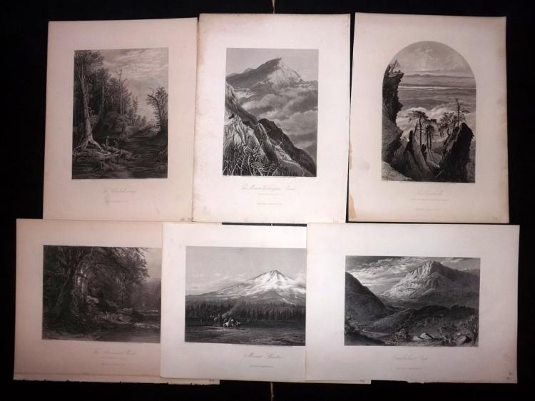 USA 1873 Lot of 6 Steel Engravings from Picturesque America