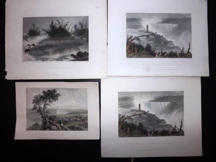 USA C1840 Group of 4 Hand Coloured Steel Engraved Views. Niagara Falls etc
