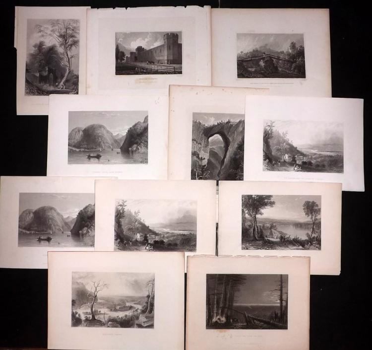USA C1840-80 Lot of 11 Steel Engraved Views