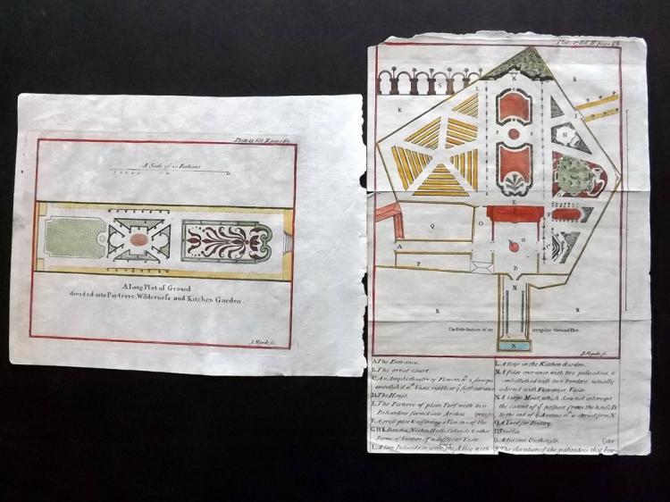 Pluche, Noel Antoine 1749 Pair of Hand Coloured Prints of Gardens, Parterre
