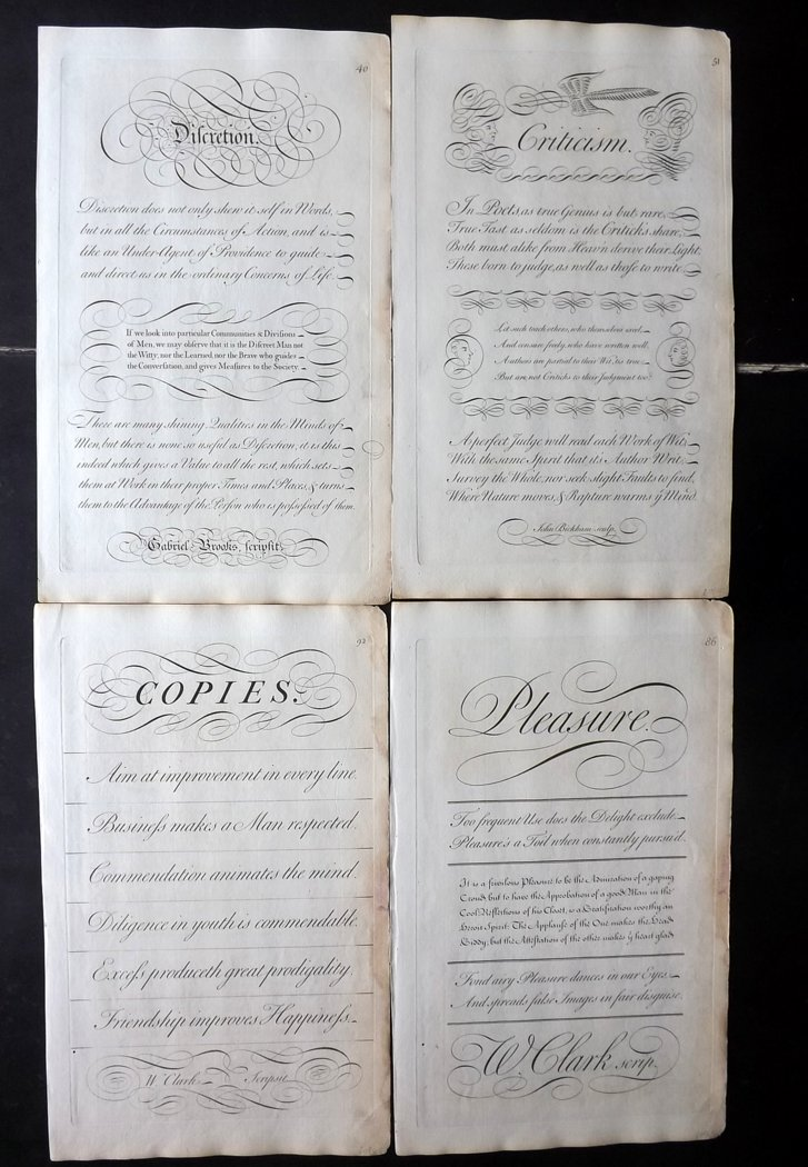 Bickham, George 1743 Lot of 10 Calligraphy Copper Plates
