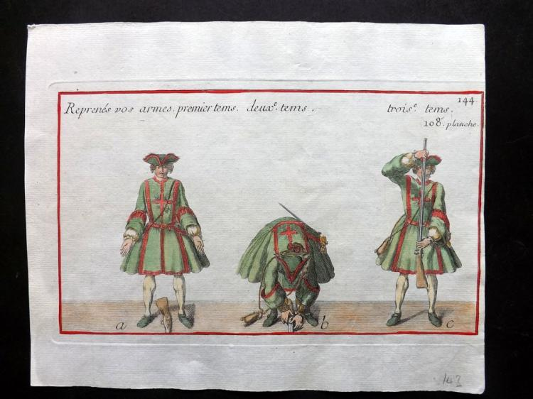 Girard, Pierre Jacques Francois 1755 Hand Coloured Musketeer Print 108