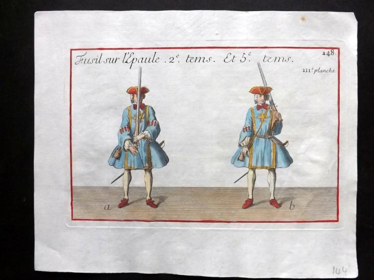 Girard, Pierre Jacques Francois 1755 Hand Coloured Musketeer Print 111