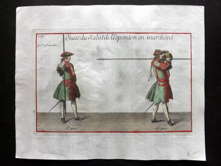 Girard, Pierre Jacques Francois 1755 Hand Coloured Pikeman Print 90
