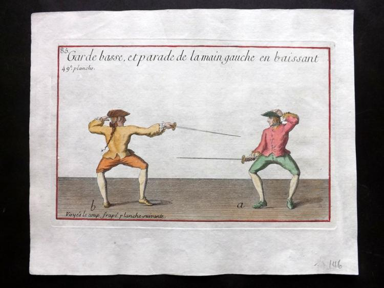 Girard, Pierre Jacques Francois 1755 Hand Coloured Sword Fencing Print 49