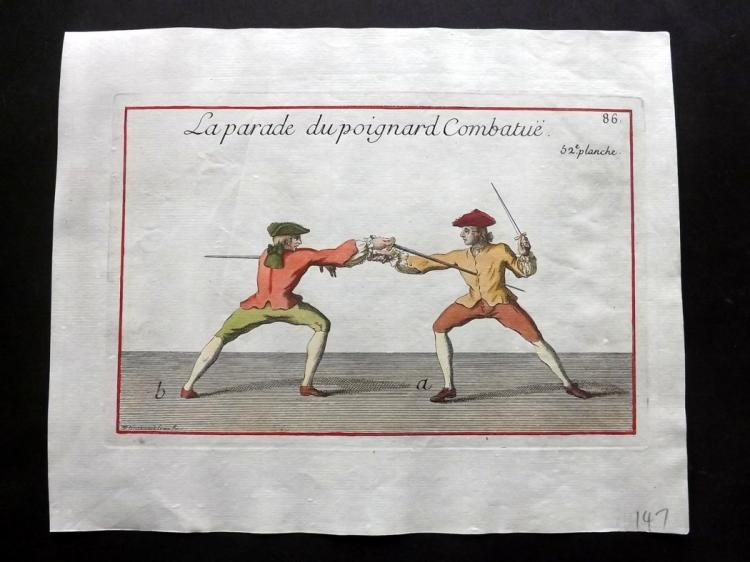 Girard, Pierre Jacques Francois 1755 Hand Coloured Sword Fencing Print 52