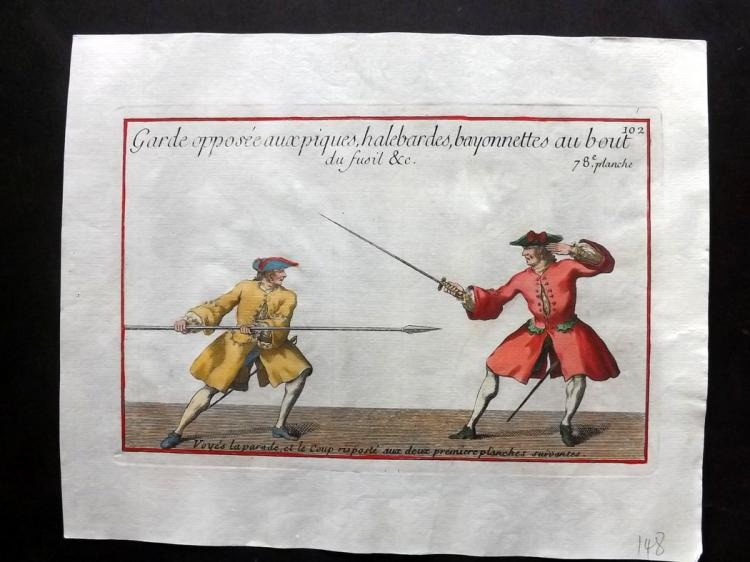 Girard, Pierre Jacques Francois 1755 Hand Coloured Sword Fencing Print 78