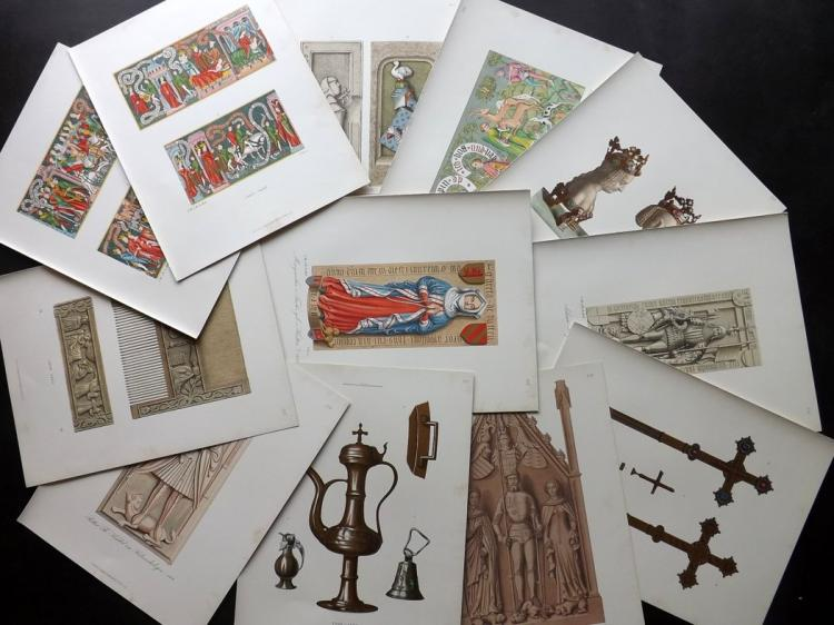 Hefner-Alteneck, Jakob Heinrich von 1919 Lot of 63 Medieval Costume, Instruments, etc Prints
