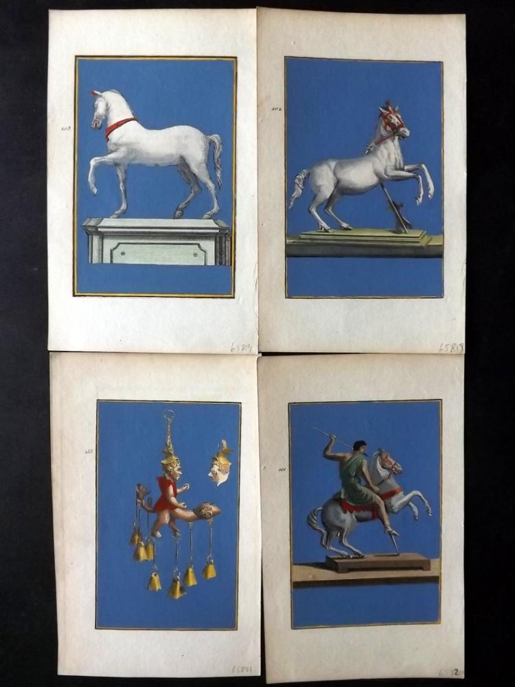 Herculaneum 1781 Lot of 8 Hand Coloured Copper Plates