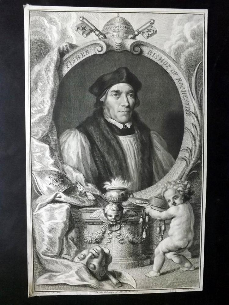 Houbraken, Jacobus C1750 Copper Engraved Portrait of John Fisher, Bishop of Rochester