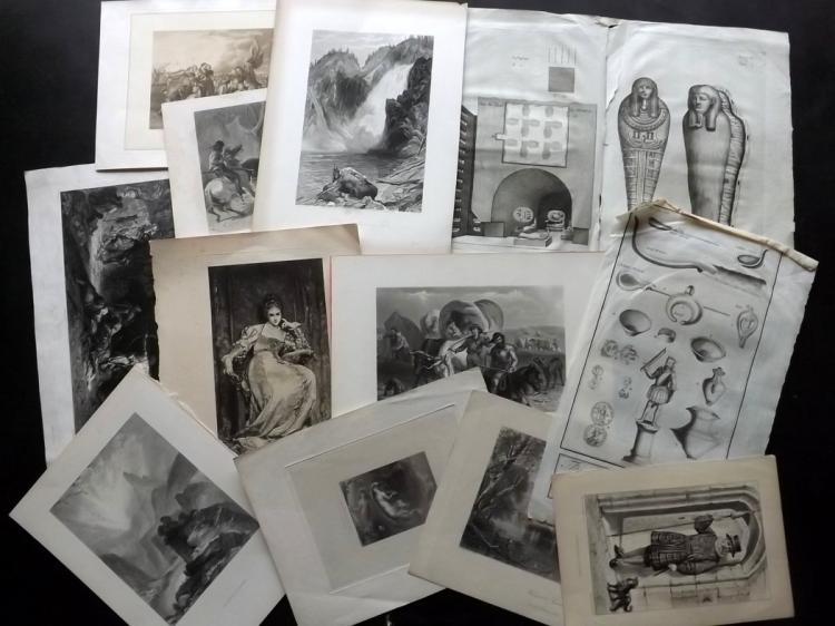 Mixed Prints 17th-19th Century. Lot of 65 Engravings and Lithographs