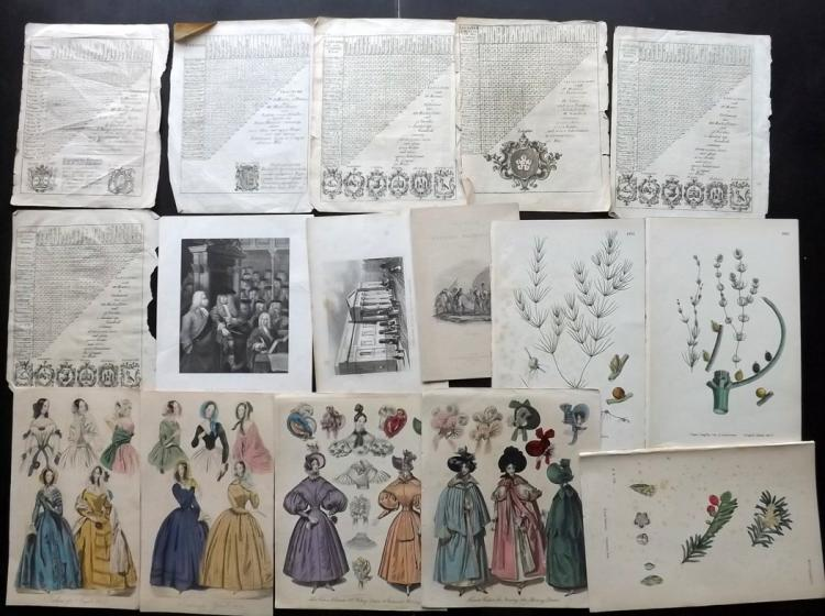 Mixed Prints, Postcards & Photos 18th-20th Century. Lot of 35 Items