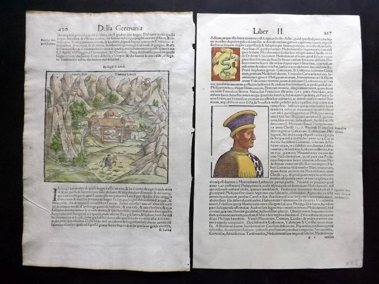 Munster, Sebastian C1580 Pair of Hand Coloured Woodcuts