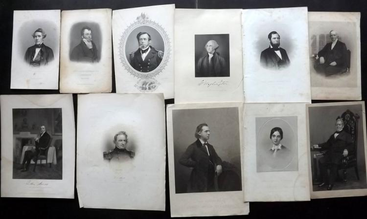 Portraits - American C1830-70 Lot of 14 Steel Engravings