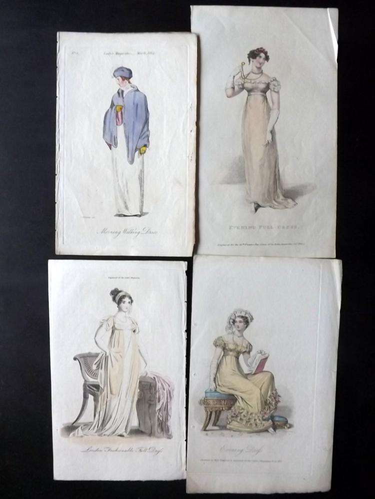 Regency Fashion C1800-20's Group of 7 Hand Coloured Prints
