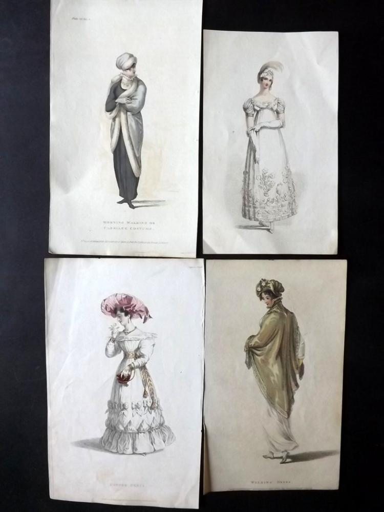 Regency Fashion C1810-20's Group of 7 Hand Coloured Prints from Ackermann's Repository