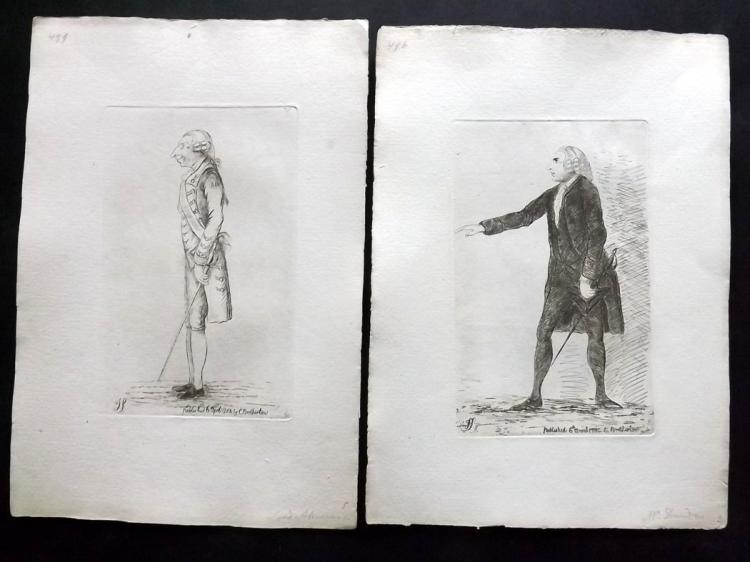 Sayers, James 1782 Pair of Etched Political Satires. Henry Dundas & Jeffrey Amherst