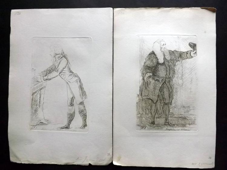Sayers, James 1782 Pair of Etched Political Satires. James Erskine & Charles Wolfran Cornwall