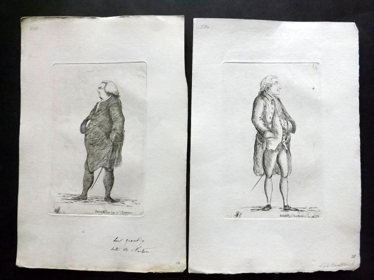 Sayers, James 1782 Pair of Etched Political Satires. John Montagu, Earl of Sandwich & Fletcher Norton, 1st Baron Grantley