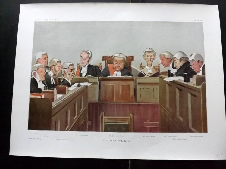 Vanity Fair Print - Double Page Supplement 1902 Heads of the Law. Legal
