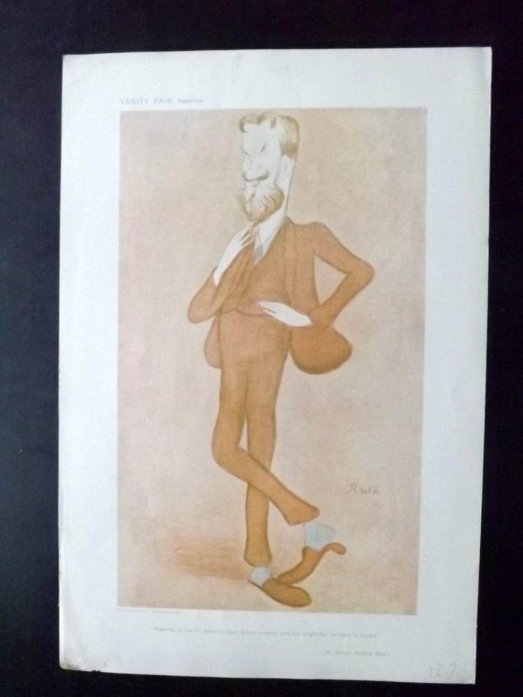 Vanity Fair Print - Literary 1905 George Bernard Shaw by Max Beerbohm