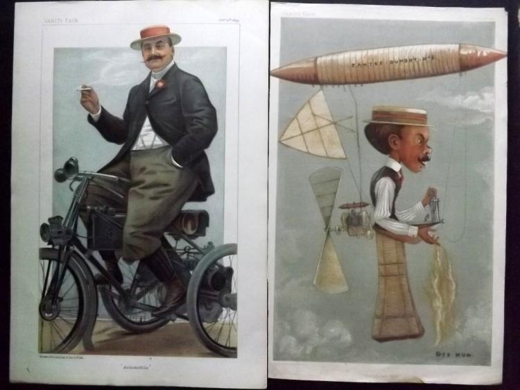 Vanity Fair Prints (2) Aviator/Automobile 1899-1901 Alberto Santos Dumont & Comte Albert de Dion