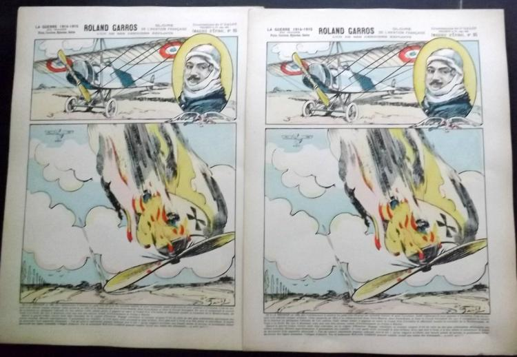 World War 1, Aviation 1915 Group of 6 Hand Coloured Epinal Prints from Imagerie d'Epinal