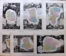 Levasseur, Victor C1850 Group of 6 Decorative Maps of France
